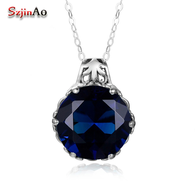Szjinao fashion africa necklace gift real 925 sterling silver szjinao fashion africa necklace gift real 925 sterling silver pendant wholesale round blue crystal women vintage mozeypictures Image collections