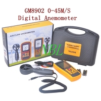 0-45 M/S Digitale Anemometer GM8902 Wind Meter Luchtstroom Anemometer Temperatuur Vochtigheid Tester Met USB Interface Hot koop