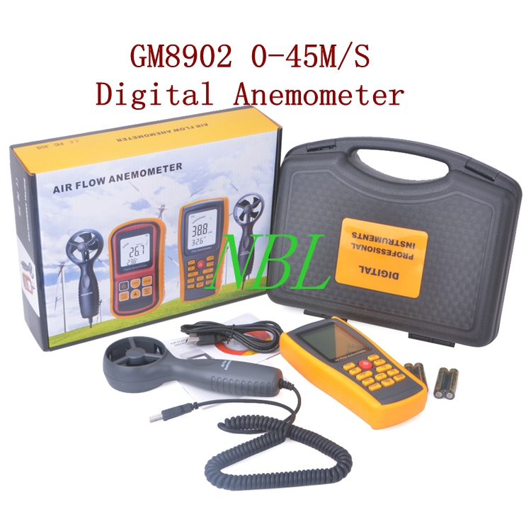 0-45M/S Digital Anemometer GM8902 Wind Speed Meter Air Flow Anemometer Temperature Humidity Tester With USB Interface Hot Sale air flow wind speed anemometer temperature tester ar836