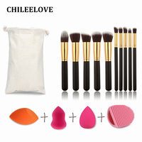 CHILEELOVE Makeup Appliance Kits 10 Pcs Makeup Brushes Bevel Water Drop Gourd 3 Shape Powder Puff