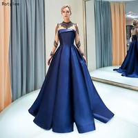 Тюль и атлас Королевский синий/красный Вечерние платья Длинные элегантные с тяжелые бусины длинное вечернее платье с рукавами Арабский Веч