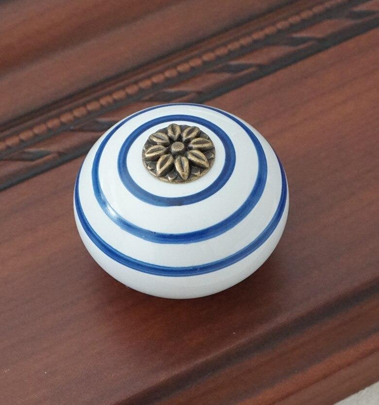 Керамическая ручка/ручки для комода белого и синего цвета, ручки для шкафа/уникальная ручка для кухонной двери, мебельная фурнитура - Цвет: Белый