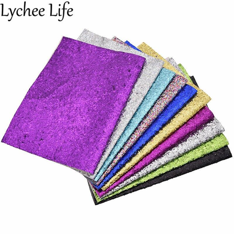 Lychee Life Glitter tela de cuero colorido PU lentejuelas tela DIY hecho a mano moderno hogar ropa textil costura tela Accesorios Tela de cuero sintético 22cm * 30cm telas de PU para hacer ropa hecha a mano DIY costura Matirials telas de PU tela de 3 colores
