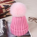 Thick Women's Winter Hats with 12cm Colorful Natural Fox Fur Pompoms Beanie Hat Female Winter Knitted Caps Headgear for Women