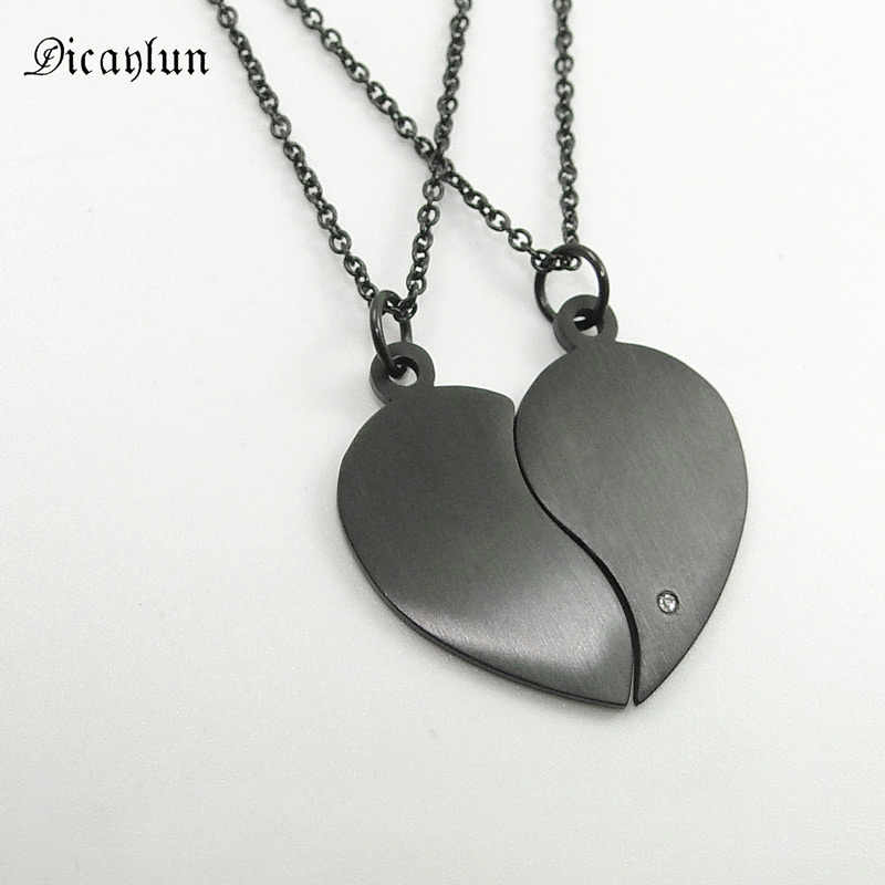 DICAYLUN Stainless Steel Two Halves Heart Necklace Simple Black Choker Heart Pendant Fashion Chain Couple Jewerly Valentine Gift