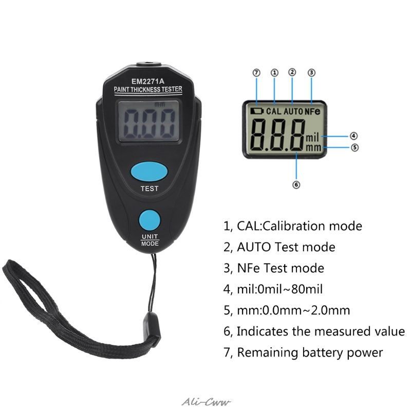 EM2271/EM2271A  Mini LCD Digital Automobile Thickness Gauge Car Paint Tester Display Thickness Coating Meter Testing Instrument