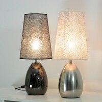 Современная спальня ткань сенсорный выключатель настольный свет кровати металлический стол лампа кабинет Decreation Таблица освещение светиль