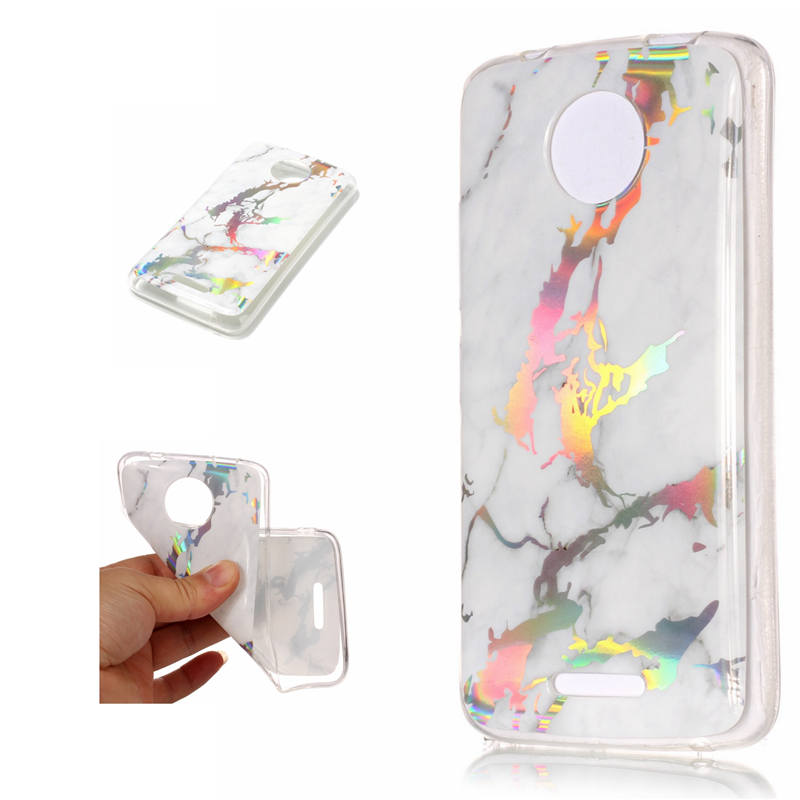 Colorful Laser Marble Pattern Plating TPU Case for Motorola Moto C Clear Side Soft Gel Rubber Cover for MOTO C Plus