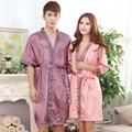 Couple Fashion Sleepwear Nightwear Women Silk Satin Robe Nightgown Set Or Men Bathrobe For Summer