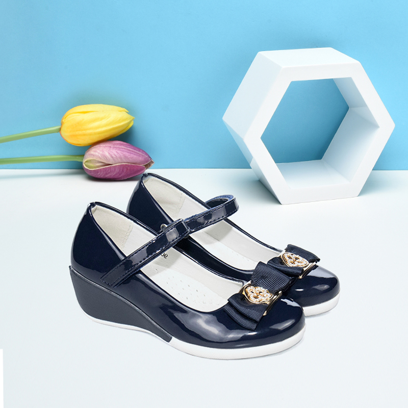 2019 Girls Party Dress Shoes Low Heels Leather Black Blue School Shoes For Girls Fashion Princess Dance Shoe Kids White Outsole|Leather Shoes| |  -