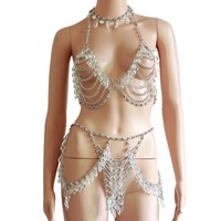 Crystal Beading Disco Exotic Tanks Crop Top Chain Sexy Mini Skirt Bodysuits Rave Bra Festival Fashion Wear Party Jewelry CRS621