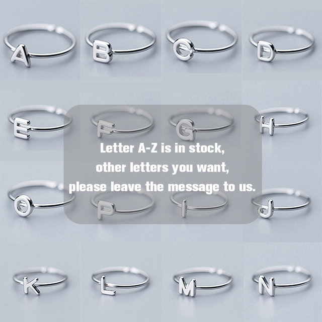 UMODE Korean 925 Sterling Silver Rings Trendy English Letter Open Rings for Women New Silver Gift Girls Femme Jewelry ULR0737A 5
