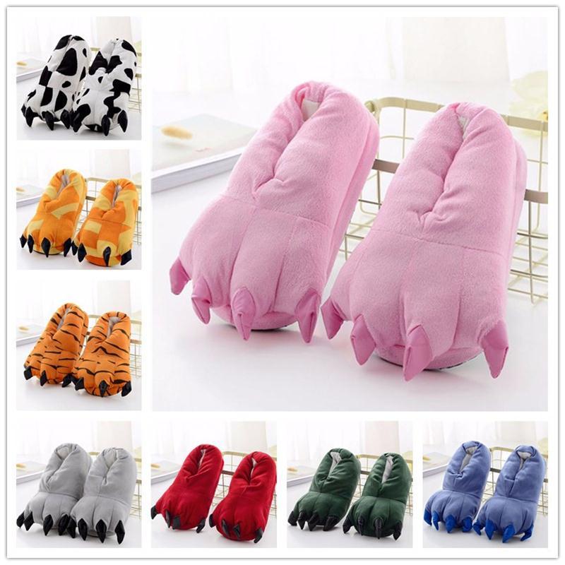 Kigurumi Slippers Boy Girl Adult Onesie Pajama Shoes Children Cartoon Unicorn Tiger Pikachu Paw Winter Warm Animal Claw
