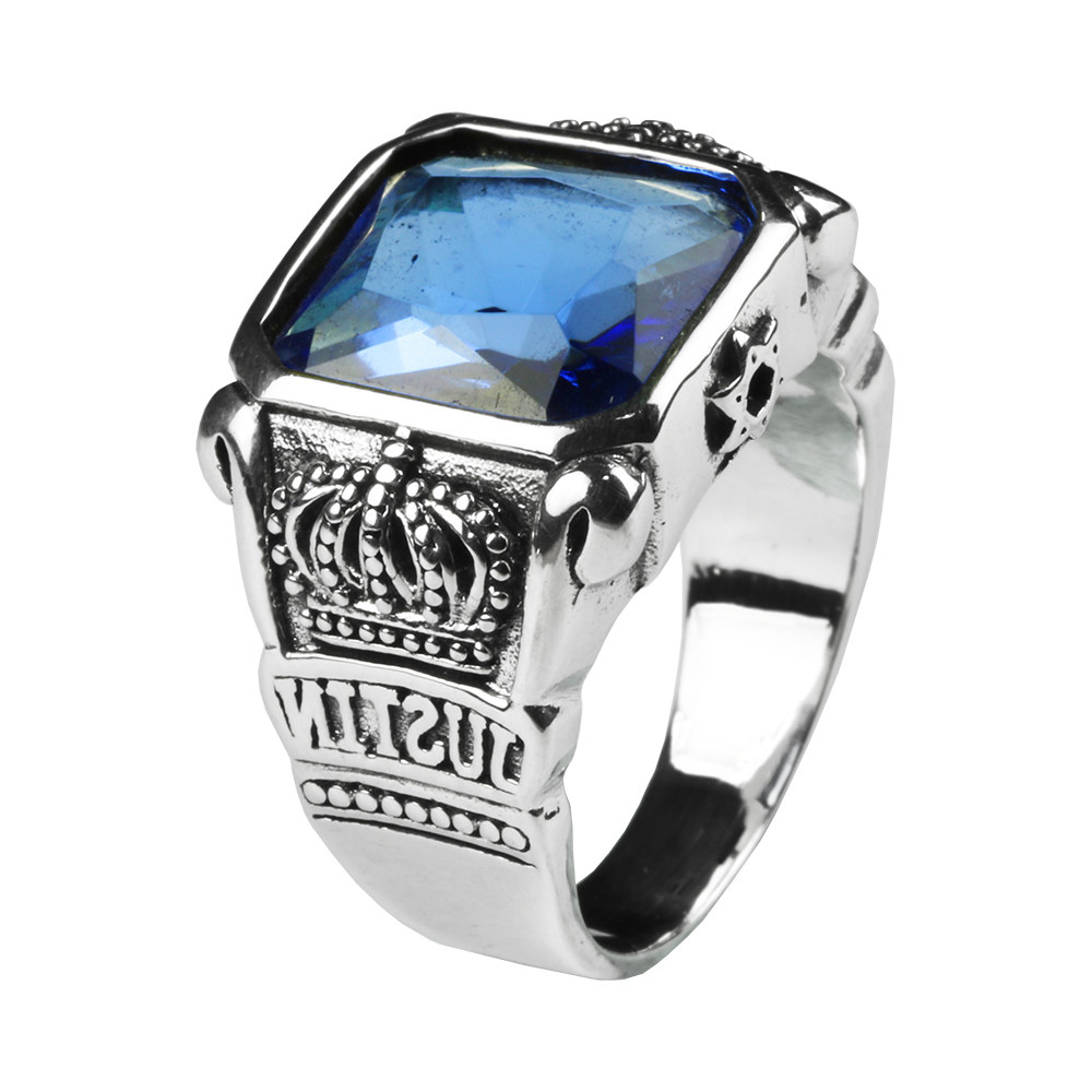 Mens Blue Crystal Ring Square Natural Stone Real Genuine 925 Sterling Silver With Vintage King Crown Carved Fine Jewelry