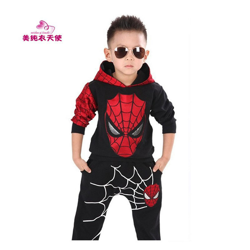 Children Clothing Sets 2017 Spring Autumn Baby Boys Hooded Spiderman Costume Pullover Kids Spider - Man Suit 2 3 4 5 6 7 Years