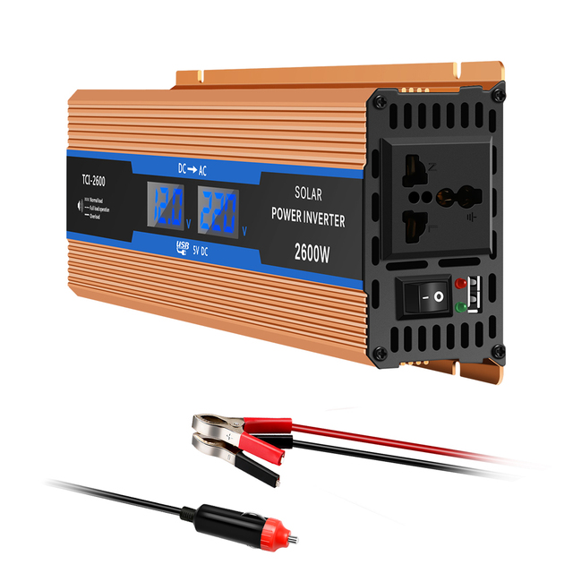 Onever Car inverter 2600 W DC 12 V to AC 220 V Power Inverter Charger Converter Sturdy and Durable Vehicle Power Supply Switch