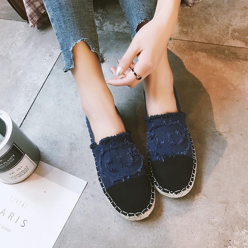 Pescador azul Zapatillas Grueso Paja Cuerda Fondo Mujer 2019 Casuales Planos Marca Lona Zapatos Alpargatas Retro De Beige Moda Mocasines Deporte Nuevos gZqIR4