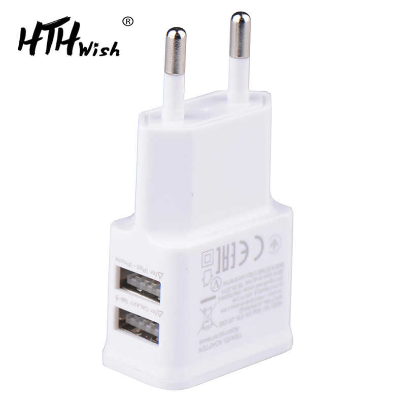 5V 2A PLUG DUAL Double USB Charger untuk iPhone iPad IPod Universal Mobile Phone Charger Dinding AC Power Charger untuk xiaomi Samsung