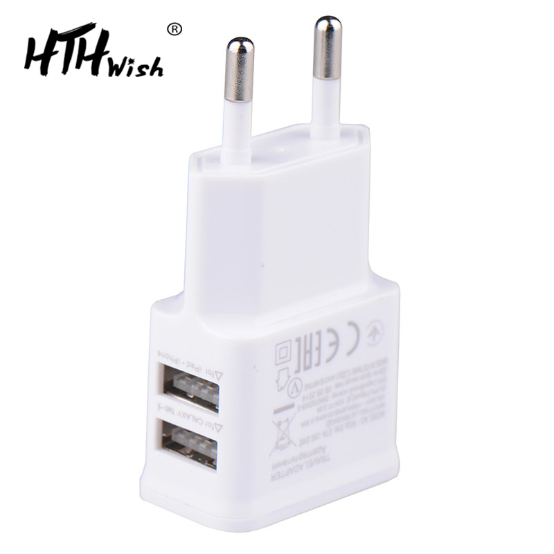 5V 2A Plug Dual Double USB Charger For iphone ipad ipod Universal mobile phone charger Wall AC Power Charger For Xiaomi Samsung