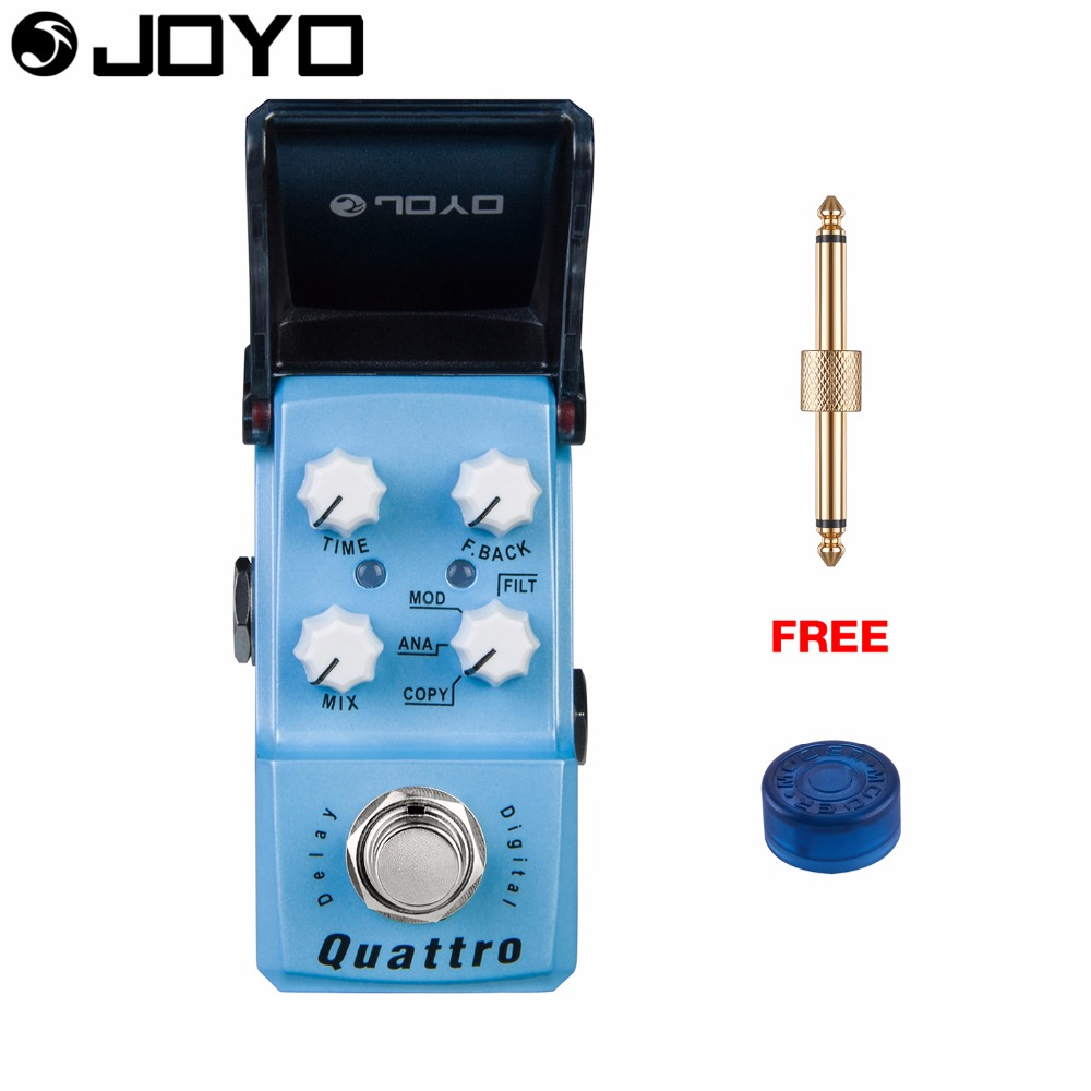 Joyo Quattro Digital Delay Guitar Effect Pedal True Bypass JF-318 with Free Connector and Footswitch Topper joyo jf 317 space verb digital reverb mini electric guitar effect pedal with knob guard true bypass