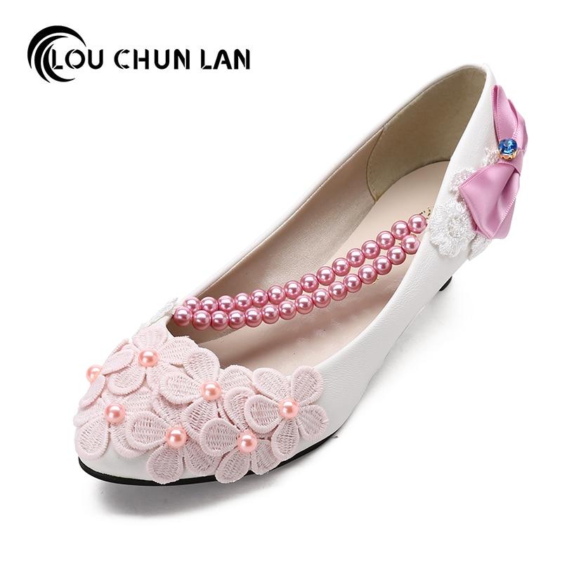 White/Pink/Purple color Bow Wedding Shoes Bridesmaid Shoes 3cm/5cm Heel Sweet  Princess Shoes Female Shoes Women Pumps цена и фото