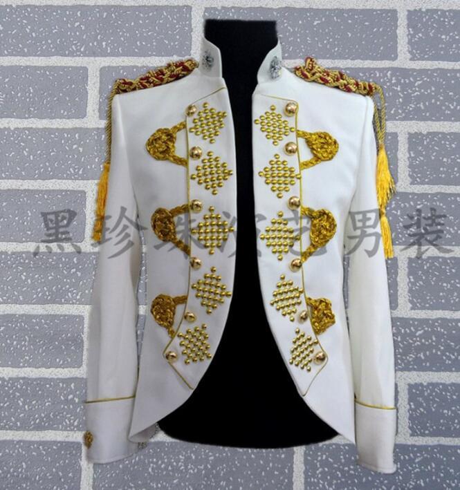 Terno Costumes Style Chanteurs Hommes De blanc Noir Danse Blanc Robe Les Pour Noir Vêtements Rock Blazer Scène Conceptions Veste Masculino Homme afAExnY