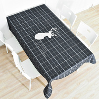 Nordic linen table cloth round table rectangular table cloth thick plaid elk table cloth