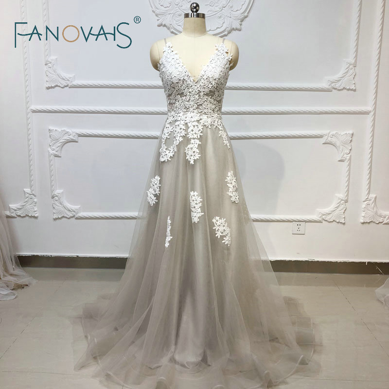 Gray Beach Boho Wedding Dress 2019 Lace Wedding Gowns Vestido De Novia Robe De Mariee Dress Elegant Plus Size