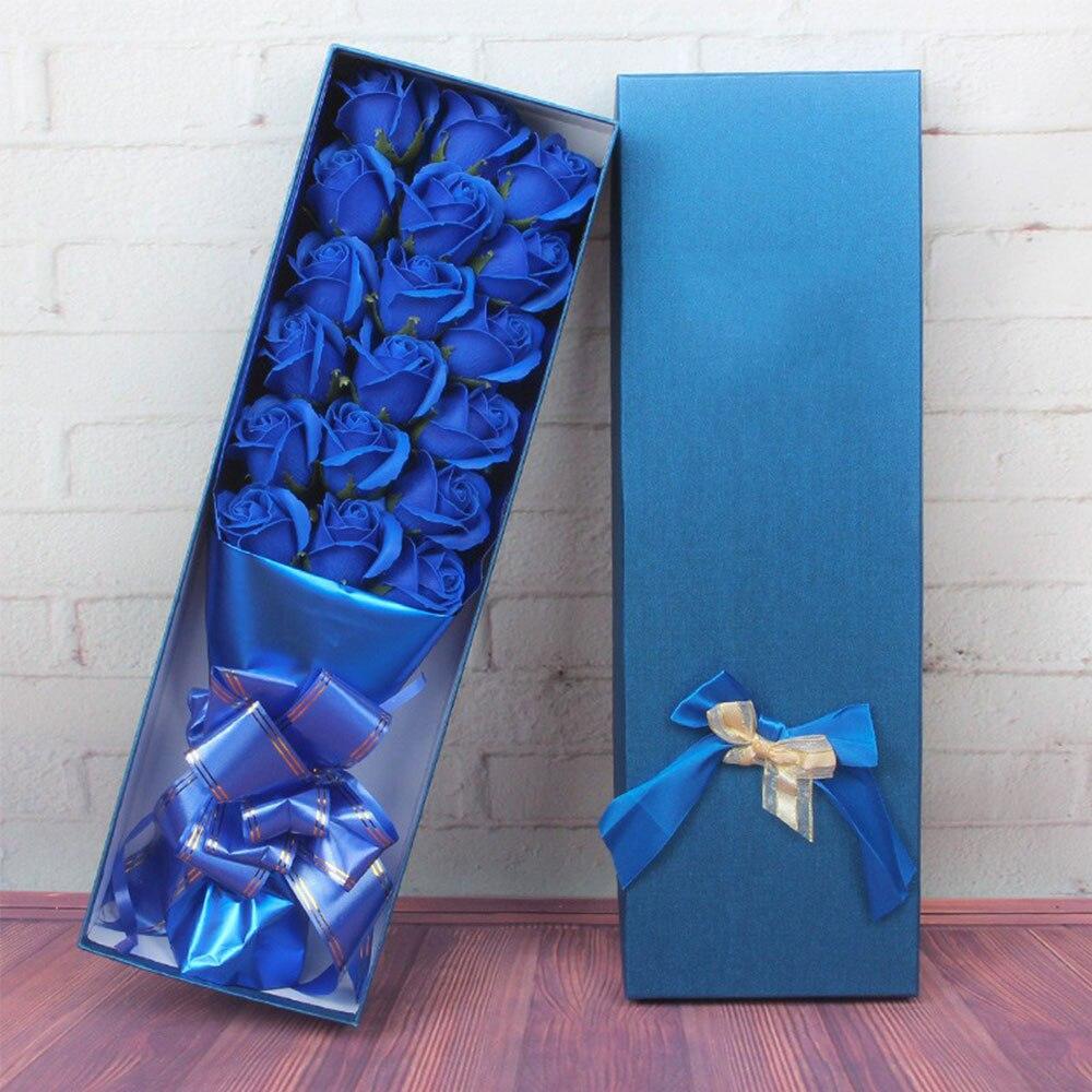 Мыло в форме розы 18 мыло ароматизированный розой цветок розы День Святого Валентина украшение дома красивый подарок в коробке романтический - Цвет: blue