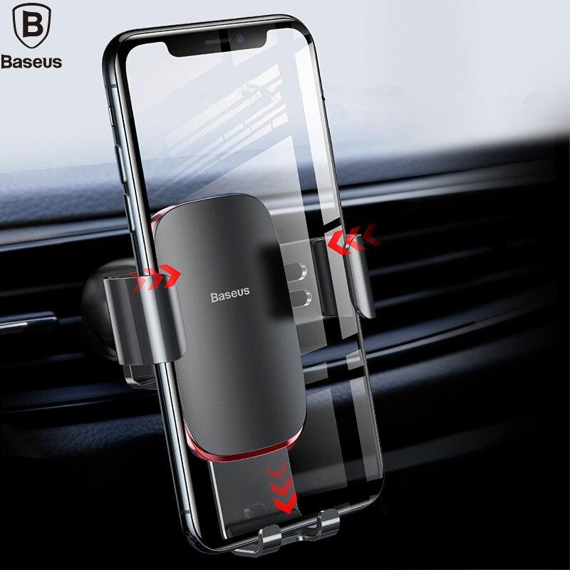 Baseus Universal Auto Telefon Halter Für iPhone Samsung S9 Plus Huawei Auto Halter Air Vent Halterung Metall Schwerkraft Handy halter