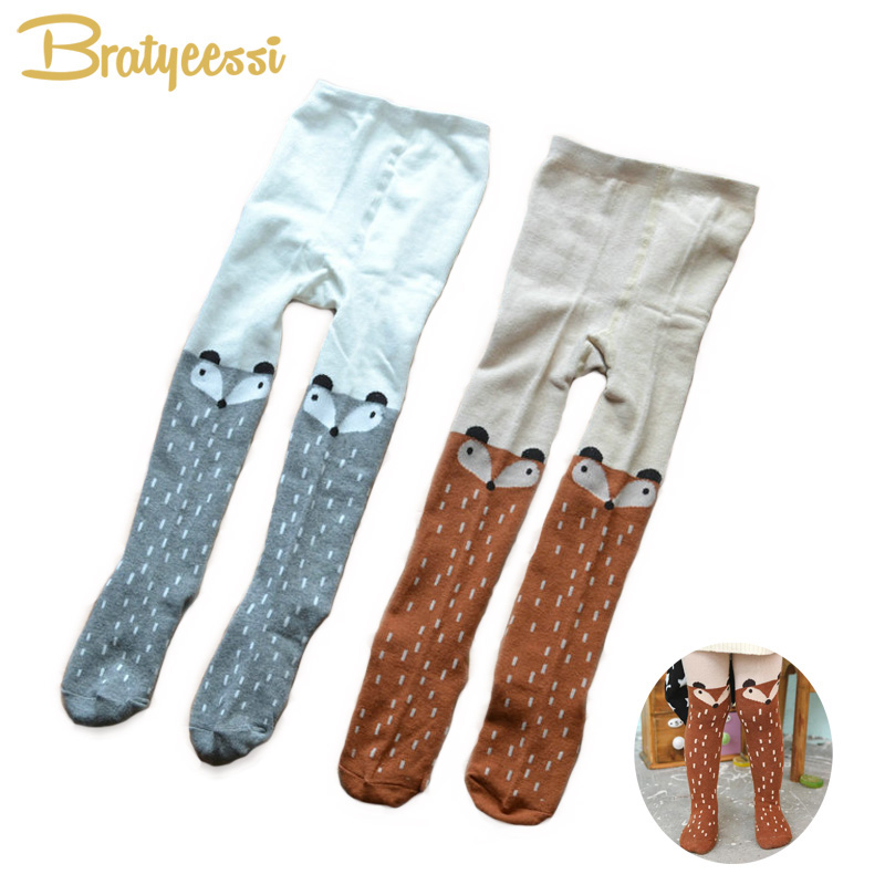 Fox Pattern Baby Girl Tights Cartoon Kids Pantyhose Cute Cotton Children Tights For 1-6 Years 1 PC