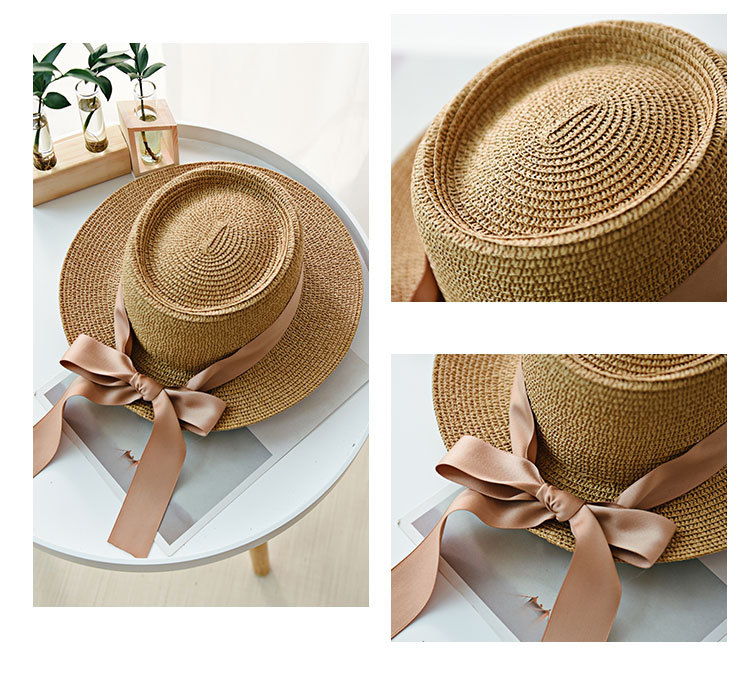 HTB10ov7aNrvK1RjSszeq6yObFXap - Ymsaid New Summer Sun Hats Women Fashion Girl Straw Hat  Ribbon Bow Beach Hat Casual Straw Flat Top Panama Hat Bone Feminino