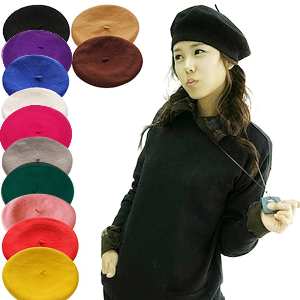 Hot Sell 2019 Cheap Fashion New Women Wool Solid Color Beret Female Bonnet Caps Winter All Matched Warm Walking Hat Cap 16 Color