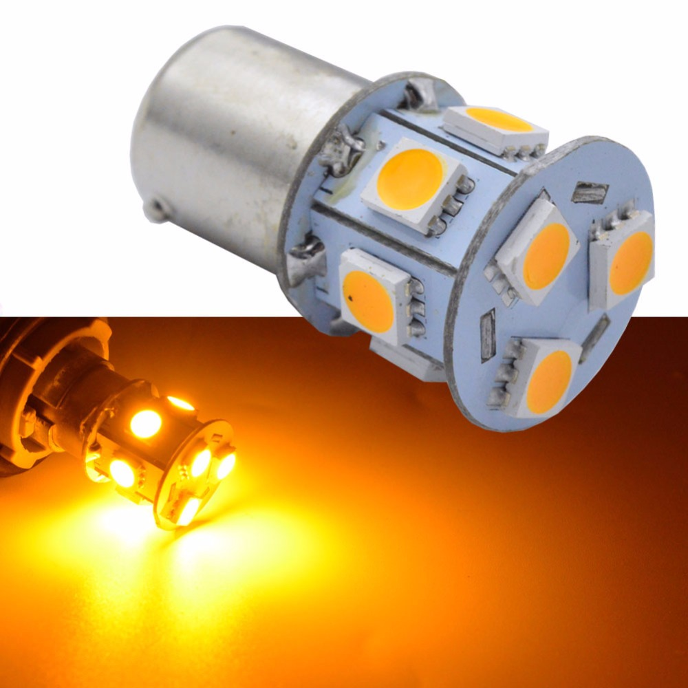 4/10pcs 1156 BAU15S <font><b>PY21W</b></font> 150 Degree 9 5050 SMD 1056 <font><b>Orange</b></font>/Amber CAR <font><b>LED</b></font> Parking Lamp DC12V image