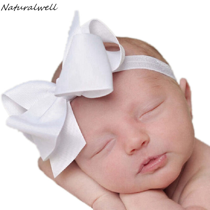 Naturalwell Big bowknot baby girl hair accessories Infant baby headband Children elastic hair bands Ribbons Hair bows HB179 popular in europe and america children wear hair knotted cotton big bow tie children hair baby hair headband