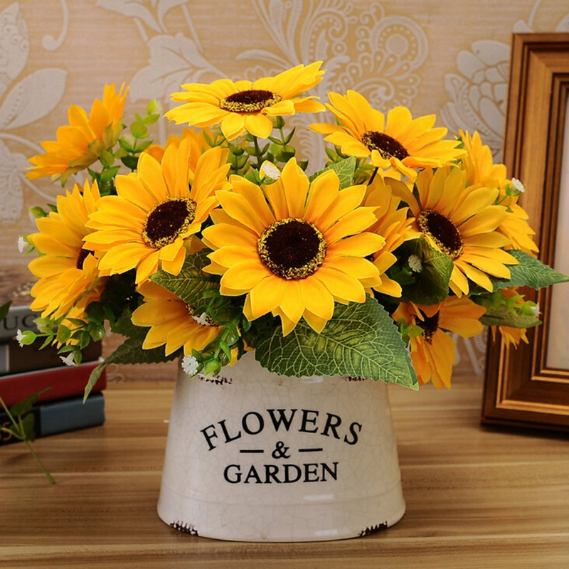 Popular sunflower table decorations buy cheap sunflower for Artificial flower decoration ideas