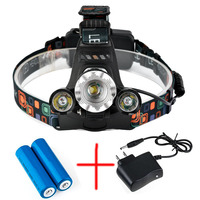 LumiParty Bright 5000LM LED Headlamp CREE XML T6 4 Modes Rechargeable Headlight Spotlight For Hunting Charger
