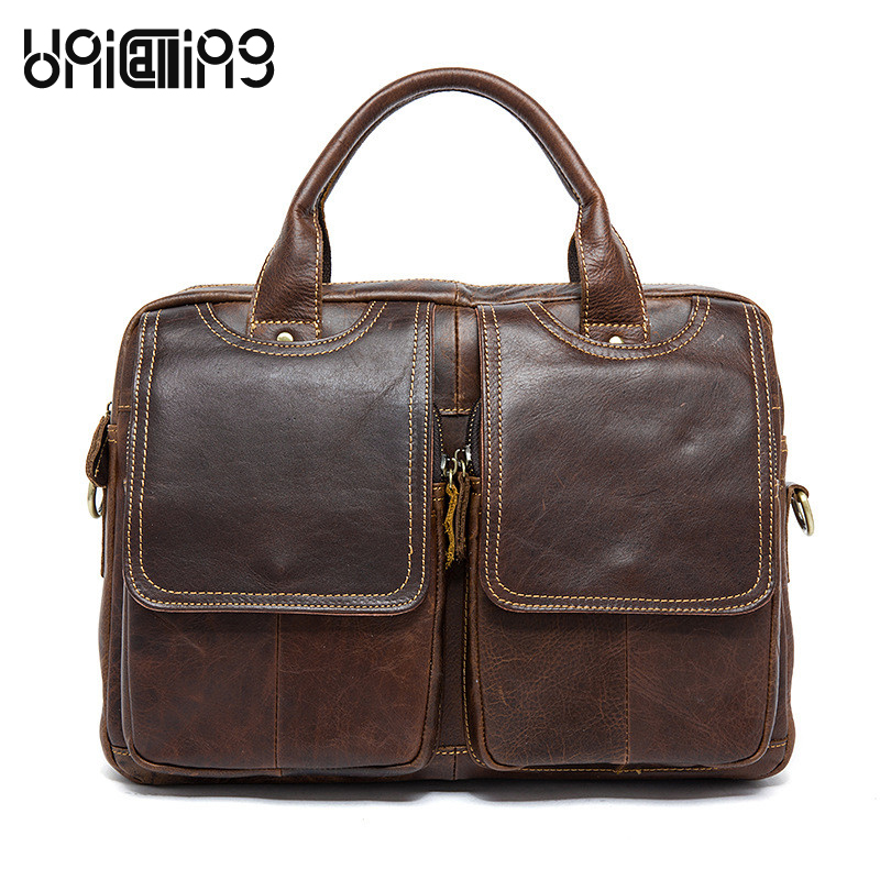 Hot sale man bag genuine leather business men handbag messenger bag high-grade cow leather bag vintage style hot sale genuine horse leather top pu leather casual vintage men envelop clutch bag handbag fashion brief messenger shoudler bag