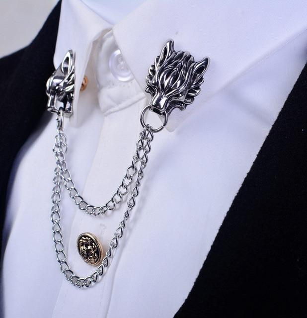 Creativo Mujer Dragón Moda Cuello Unisex Botón De La Camisa Broche 7w4aH