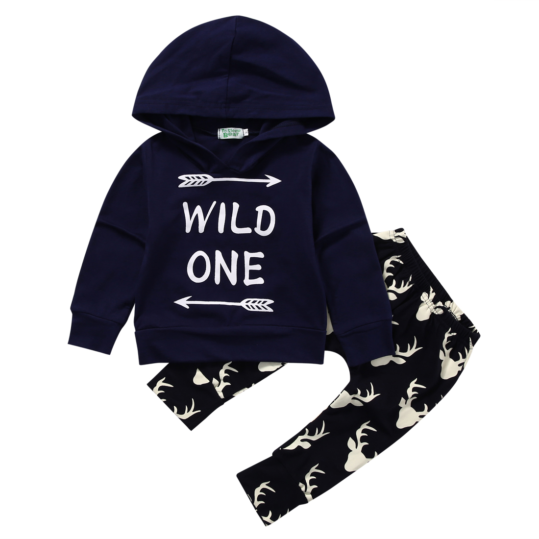 2PCS Set Baby Clothes Infant Newborn Bebes Long Sleeve Hooded Sweatshirt Wild One Tops + Deer Pant Trouser Outfit Kids Clothing 2pcs children outfit clothes kids baby girl off shoulder cotton ruffled sleeve tops striped t shirt blue denim jeans sunsuit set