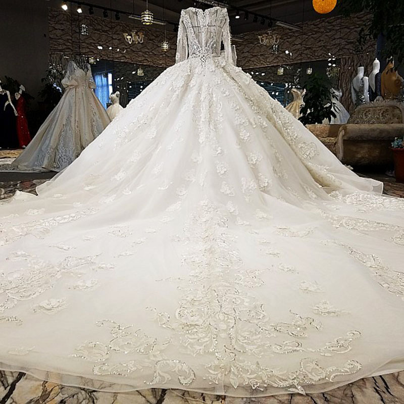 LS52811 2018 Luxury wedding dress o-neck ball gown lace up ivory and champagne bridal wedding gowns with long train as photos