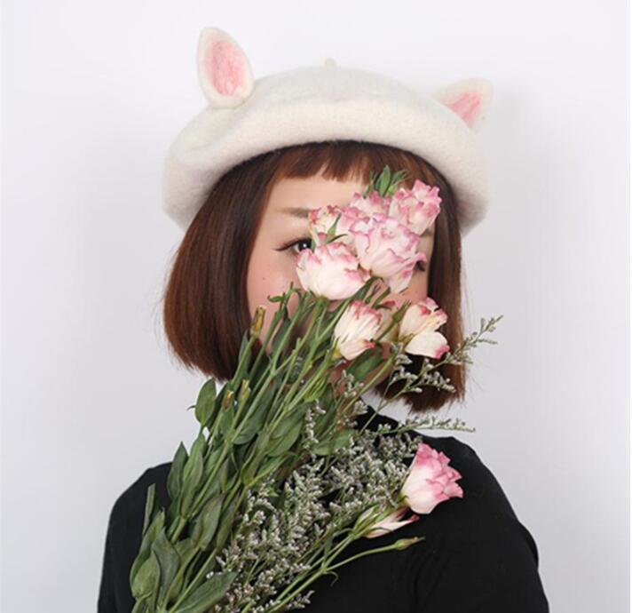 25bff502bbcb2 New Retro Women Cute Cat Ear Beret Caps Wool Blend Casual Warm Painter Hat  Handmade W