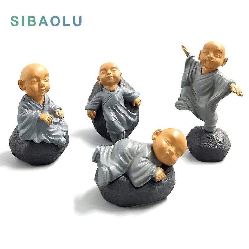 Feng Shui Resin People Buddha Statue Monks Miniature Fairy Figurines Bonsai Garden Home Decoration Accessories Decor Kawaii Toys