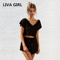 LIVA GIRL Summer Women S Sets Sexy V Neck Crop Top Shorts Pants Set 2 Pieces