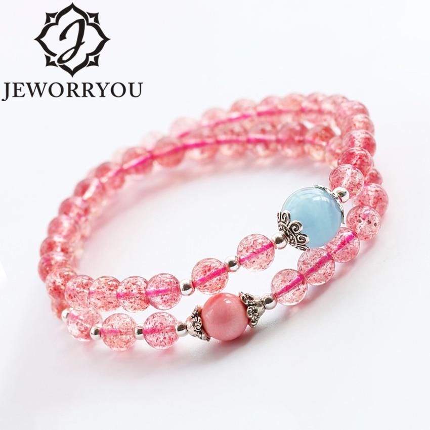 Fraise Quartz 6mm cristal Bracelet Femme deux bague Wrap Bracelet argent aigue-marine et rose coquille accessoires femmes Bracelets