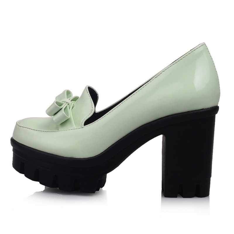חדש לגמרי 2018 גבוהה עבה עקבים פלטפורמת Skidproof בלעדי Bowtie גלדיאטור אביב קיץ סתיו נעליים חיצוני גודל 34-43 נעליים אישה