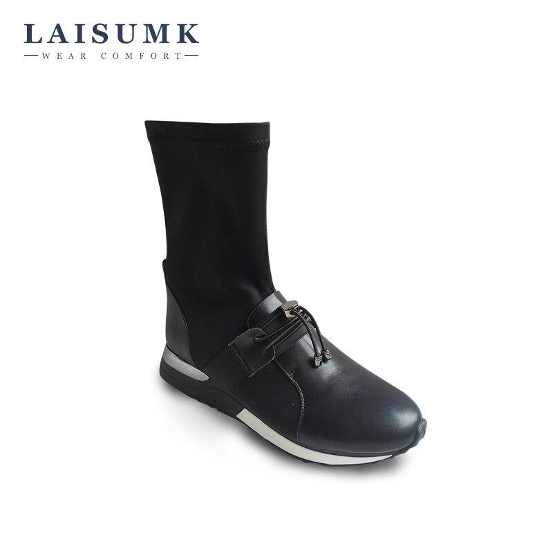 2017 LAISUMK New Arrival Elastic Fabric Short Boots Winter Flat Platform font b Women b font