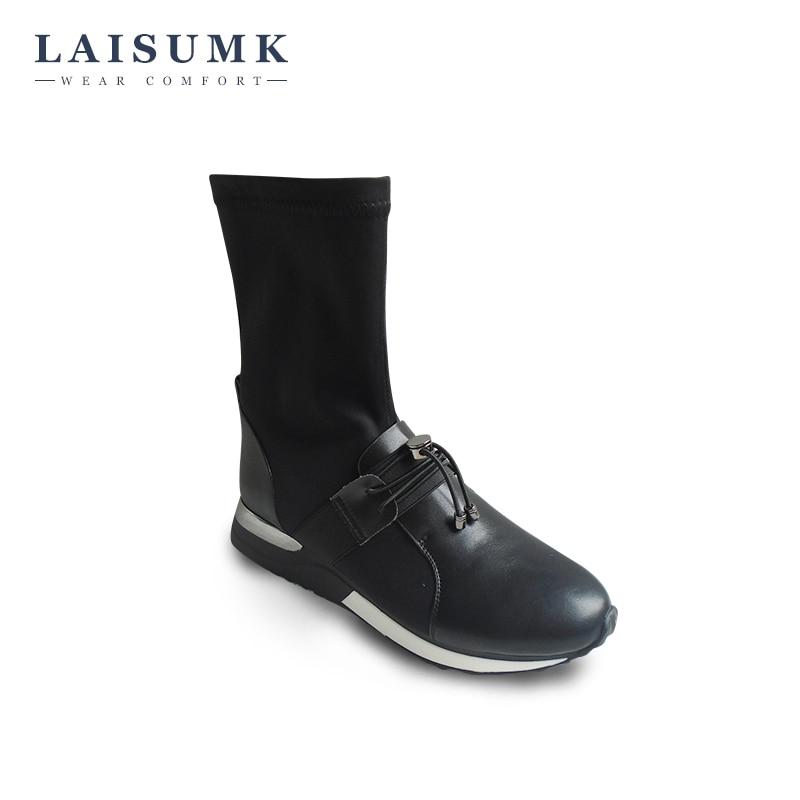 2017 LAISUMK New Arrival Elastic Fabric Short Boots Winter Flat Platform Women Shoes High Quality Comfortable Female Shoes