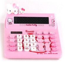 2016 New 12 digit solar pink cute hello kitty calculator wholesale solar calculator no voice 18cmx17cmx8cm