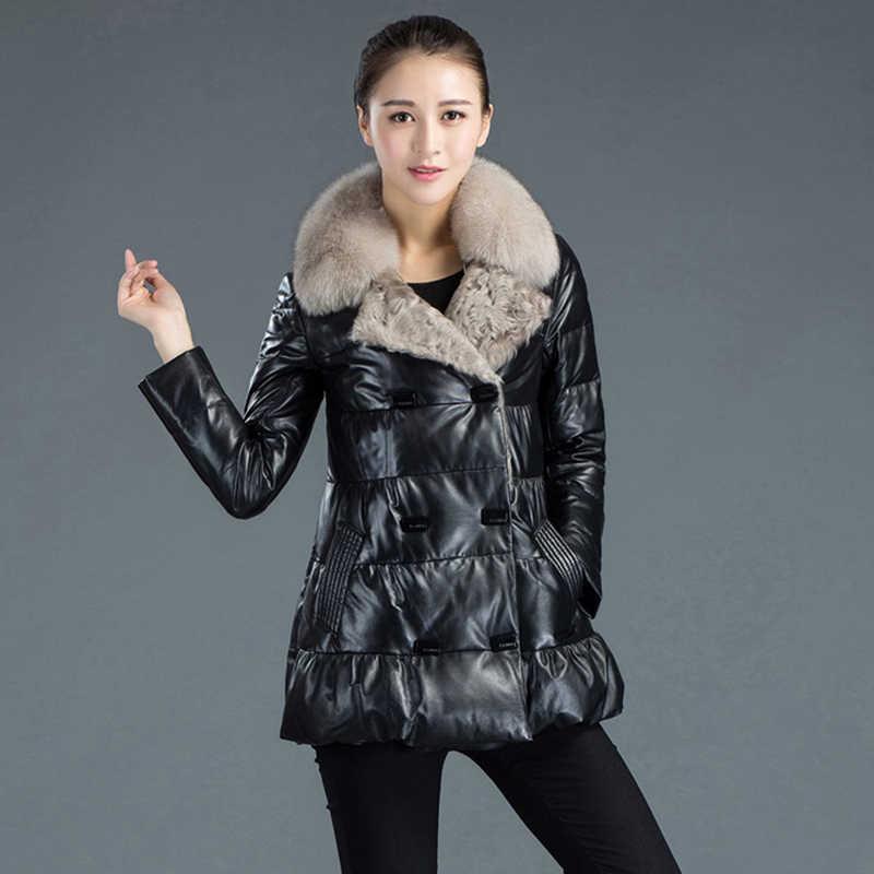 Winter Frauen Hohe qualität Frauen Echter Ledermantel Weiblich Mittellang lang Fashion Warm Fox pelzkragen Echtem Leder Jacke WK262